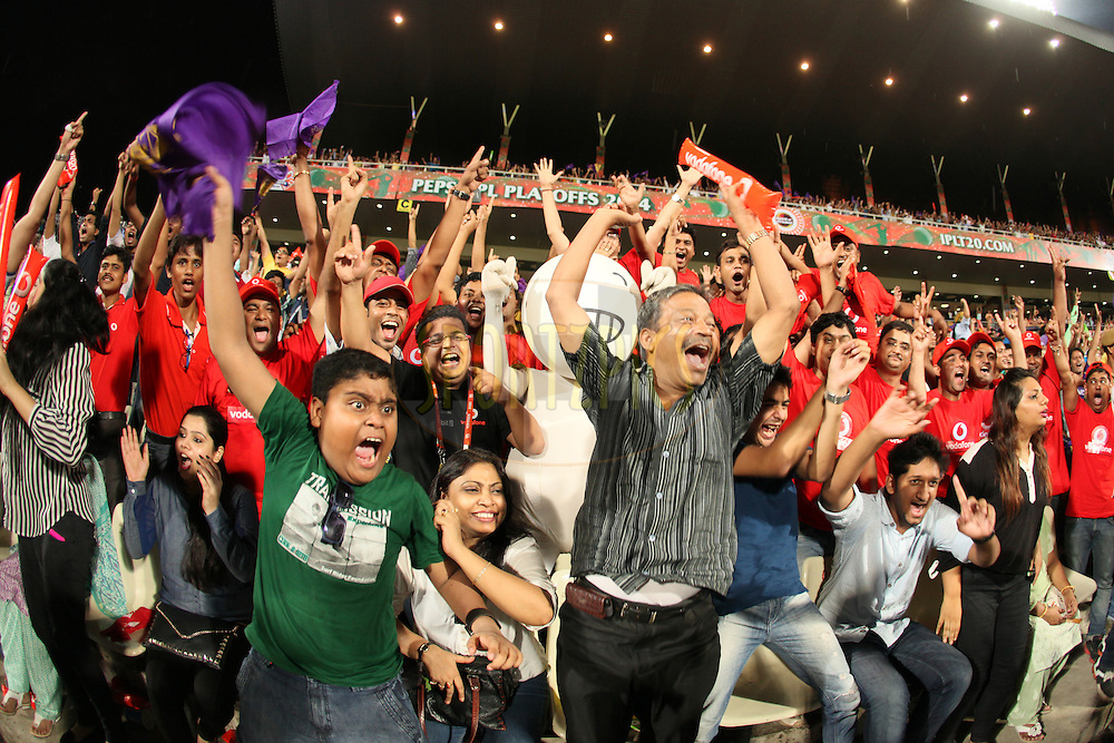 Vodafone Zoozo with vodafone fans at stadium during the first qualifier match (QF1) of the Pepsi Indian Premier League Season 2014 between the Kings XI Punjab and the Kolkata Knight Riders held at the Eden Gardens Cricket Stadium, Kolkata, India on the 28th May  2014<br /> <br /> Photo by Saikat Das / IPL / SPORTZPICS<br /> <br /> <br /> <br /> Image use subject to terms and conditions which can be found here:  http://sportzpics.photoshelter.com/gallery/Pepsi-IPL-Image-terms-and-conditions/G00004VW1IVJ.gB0/C0000TScjhBM6ikg