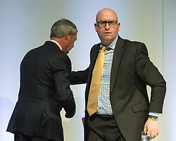 """© Licensed to London News Pictures . 25/05/2016 . Bolton , UK . NIGEL FARAGE and PAUL NUTTALL on the stage . Nigel Farage , Kate Hoey and Paul Nuttall at a """" We Want Our Country Back """" public meeting in favour of the UK leaving the EU at the Premier Suite of Bolton Wanderers' Macron Stadium . Photo credit : Joel Goodman/LNP"""