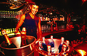 Barman behind a bar, champagne in an ice bucket on bar, Miami, USA