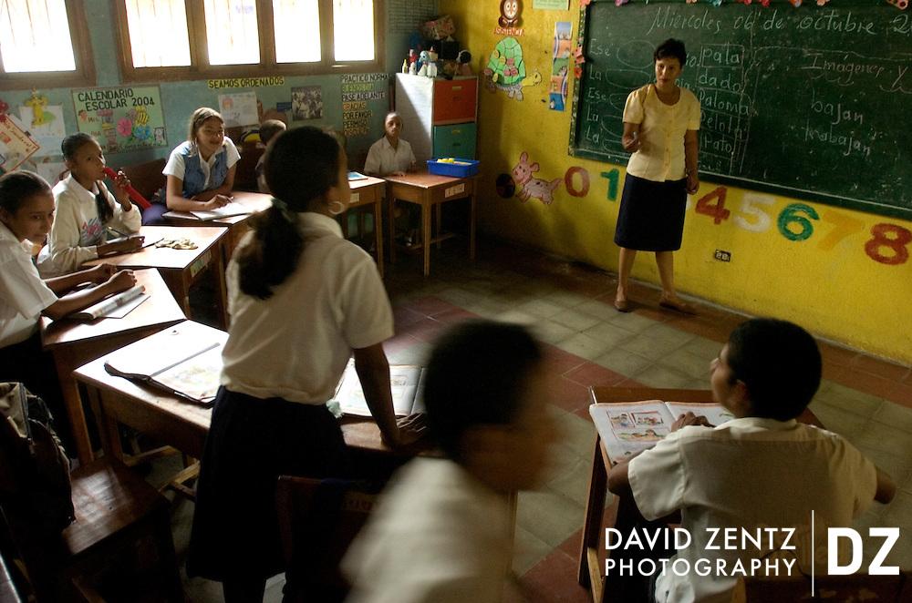 Children attend school in Masatepe, Nicaragua on October 6, 2004.