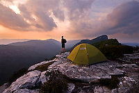 Sunset while camping near the Mountains-to-Sea trail in the Linville Gorge WIlderness Area, Western North Carolina.
