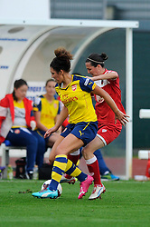 Arsenal Ladies' Casey Stoney is closed down by Bristol Academy's Natalia Sanchon - Photo mandatory by-line: Dougie Allward/JMP - Mobile: 07966 386802 - 20/09/2014 - SPORT - FOOTBALL - Bristol - SGS Wise Campus - BAWFC v Arsenal Ladies - FA Womens Super League