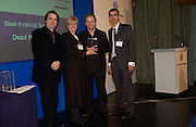 John Culshaw and Dead Ringers colleagues receives award for best Political Satire from polly Toynbee, Political Studies Association Awards 2004. Institute of Directors, Pall Mall. London SW1. 30 November 2004.  ONE TIME USE ONLY - DO NOT ARCHIVE  © Copyright Photograph by Dafydd Jones 66 Stockwell Park Rd. London SW9 0DA Tel 020 7733 0108 www.dafjones.com