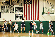 Burlington's Kevin Garrison (24) takes a three point shot during the boys basketball game between the Burlington Seahorses and the Rice Green knights at Rice Memorial high School on Thursday night January 7, 2016 in South Burlington. (BRIAN JENKINS/for the FREE PRESS)