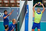 Katowice, Poland - 2017 September 03: (R) Athlete Viacheslav Zbikovskiy from SO Russia receives the ball while final match between SO Russia and SO Finland during European Unified Volleyball Tournament 2017 at Spodek Hall on September 03, 2017 in Katowice, Poland.<br /> <br /> Adam Nurkiewicz declares that he has no rights to the image of people at the photographs of his authorship.<br /> <br /> Picture also available in RAW (NEF) or TIFF format on special request.<br /> <br /> Any editorial, commercial or promotional use requires written permission from the author of image.<br /> <br /> Image can be used in the press when the method of use and the signature does not hurt people on the picture.<br /> <br /> Mandatory credit:<br /> Photo by &copy; Adam Nurkiewicz / Mediasport