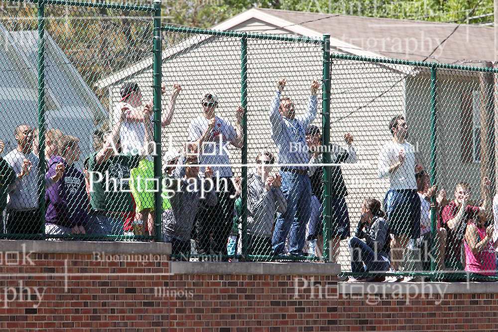 11 May 2013:  Fans Line the 3rd baseline fence to cheer for the Titans during an NCAA division 3 College Conference of Illinois and Wisconsin (CCIW) Pay in Baseball game during the Conference Championship series between the North Park Vikings and the Illinois Wesleyan Titans at Jack Horenberger Stadium, Bloomington IL