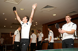 CARDIFF, WALES - Tuesday, September 4, 2012: Wales' Gareth Bale celebrates winning a match during a players' table tennis tournament at the St. David's Hotel ahead of the Brazil 2014 FIFA World Cup Qualifying Group A match against Belgium. (Pic by David Rawcliffe/Propaganda)