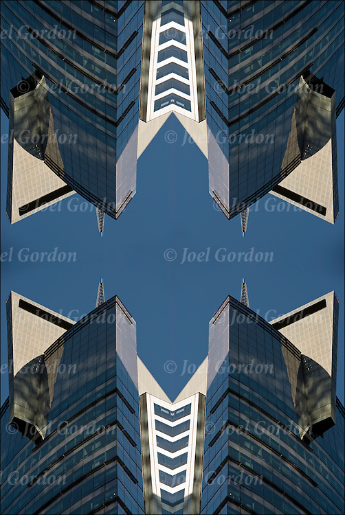 Abstract mirror image of architectural detail from the Thomson Reuters Building in Times Square