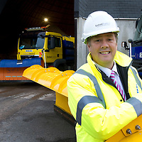 Scottish Transport Minister Keith Brown MSP pictured at the Tayside Contracts Ruthvenfield Depot in Perth where he visited this morning (03.10.09) to inspect winter preparedness as October marks the start of the 'Winter Service' period...<br /> Picture by Graeme Hart.<br /> Copyright Perthshire Picture Agency<br /> Tel: 01738 623350  Mobile: 07990 594431