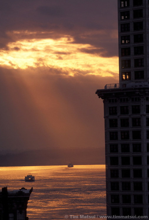 Ferry traffic on Puget Sound seen from downtown Seattle..
