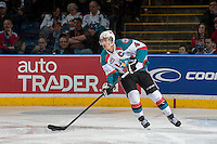 KELOWNA, CANADA - MARCH 28: Madison Bowey #4 of the Kelowna Rockets skates against the Tri-City Americans during game 5 of the first round of WHL playoffs on March 28, 2014 at Prospera Place in Kelowna, British Columbia, Canada.   (Photo by Marissa Baecker/Shoot the Breeze)  *** Local Caption *** Madison Bowey;