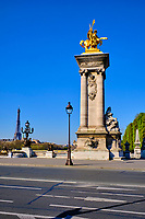 France, Paris (75), pont Alexandre III durant le confinement du Covid 19 // France, Paris, Alexandre 3 bridge during the containment of Covid 19