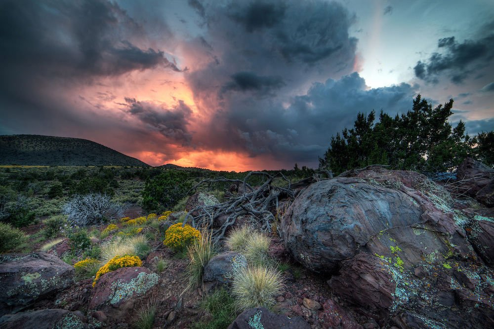 Monsoon rain at sunset in the volcanic fields around Flagstaff in Northern Arizona