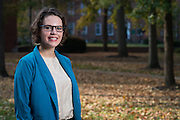 Kerrigan Boyd, a graduate student in Ohio University's Sociology Department, poses in College Green on October 19, 2016.
