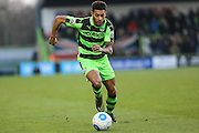 Forest Green Rovers Kaiyne Woolery(14) runs forward during the Vanarama National League match between Forest Green Rovers and Braintree Town at the New Lawn, Forest Green, United Kingdom on 21 January 2017. Photo by Shane Healey.