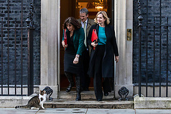 © Licensed to London News Pictures. 02/04/2019. London, UK. Minister of State at Department for Business, Energy and Industrial Strategy Claire Perry (L), Education Secretary Damian Hinds (centre), and Secretary of State for Work and Pensions Amber Rudd (R) leave 10 Downing Street after Prime Minister Theresa May delivered a statement announcing that she will seek a further extension of Article 50. Photo credit: Rob Pinney/LNP