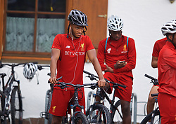 ROTTACH-EGERN, GERMANY - Friday, July 28, 2017: Liverpool's Joe Gomez on a bike after a training session at FC Rottach-Egern on day three of the preseason training camp in Germany. (Pic by David Rawcliffe/Propaganda)