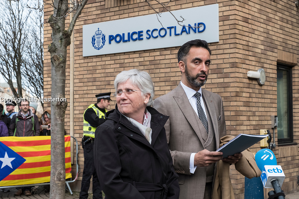 Edinburgh, Scotland,UK. 28 March 2018.  former Catalonia Education Minister and independence supporter Clara Ponsati with lawyer Aamer Anwar, outside St Leonards police station in Edinburgh prior to being issued European arrest warrant. Ponsati faces extradition to Spain