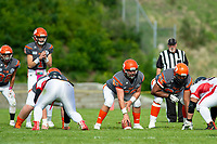 KELOWNA, BC - OCTOBER 6:  The Okanagan Sun line up against the VI Raiders BCFC regular season at the Apple Bowl on October 6, 2019 in Kelowna, Canada. (Photo by Marissa Baecker/Shoot the Breeze)