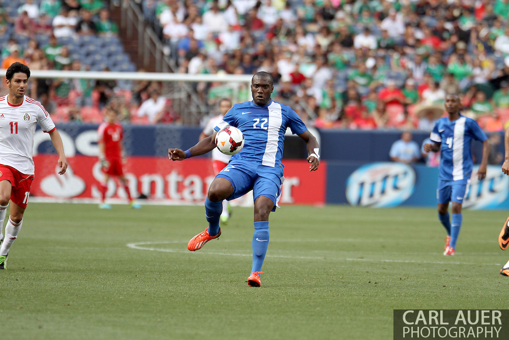 July 14 2013:  Martinique Defender Jean-Sylvain Babin (22) in second half action of the CONCACAF Gold Cup soccer match between Martinique and Mexico at Sports Authority Field in Denver, CO. USA.
