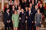8-12-2016 Luxembourg - Jean, Grand Duke of Luxembourg , Henri, Grand Duke of Luxembourg , Maria Teresa, Grand Duchess of Luxembourg , Prince FÈlix of Luxembourg and Princess Claire in the royals palace . The Luxembourg royal decree Thursday with a sound and light show of the year-long celebration of the 125th anniversary of the Luxembourg dynasty Nassau. On the facade of the Grand Ducal Palace photos and images projected that tell the history of the Luxembourg monarchy. COPYRIGHT ROBIN UTRECHT<br /> Grand Duke Henri, Grand Duchess Maria Teresa, Grand Duke Jean, Hereditary Grand Duke Guillaume and Hereditary Grand Duchess StÈphanie as well as members of the Grand Ducal Family were announced to mark the 125th anniversary of the Luxembourg-Nassau Dynasty with a family photo and a light show today - and well, a right grand ducal celebration with loads and loads of family members First row, from left: <br /> Hereditary Grand Duke Guillaume, Grand Duchess Maria Teresa, Grand Duke Jean, Grand Duke Henri, Hereditary Grand Duchess StÈphanie<br /> Second row: <br /> Prince Guillaume, Princess Margaretha, Archduchess Marie-Astrid, Prince Jean<br /> Third row: <br /> Princess Sibilla, Prince Nikolaus of Liechtenstein, Archduke Carl-Christian, Countess Diane de Nassau<br /> Fourth row: <br /> Princess Eleonora of Ligne, Prince Michel de Ligne, Prince Robert of Luxembourg, Baroness Sophie de Potesta, Countess Monica of Holstein-Ledreborg<br /> Fifth row: <br /> Countess Silvia of Holstein-Ledreborg, Countess Lydia of Holstein-Ledreborg, Princess Anne of Ligne, Baron Jean-Louis de Potesta, Henrik de JonquiËres.<br /> Sixth row: <br /> John Munro of Foulis, Countess Tatiana of Holstein-Ledreborg, Prince Wauthier of Ligne, Chevalier Charles de Fabribeckers de Cortils de Gr'ce, Princess Sophie de Ligne.<br /> Seventh row: <br /> Countess Antonia of Holstein-Ledreborg, Mark von Riedemann, Princess RÈgine of Ligne, Prince Lamoral of Ligne, Princess Jacqueline of Ligne<br /> <br /> 8-12