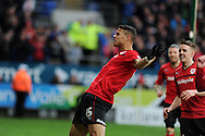 Cardiff city's Rudy Gestede (c) celebrates after he scores the opening goal. NPower championship, Cardiff city v Millwall at the Cardiff city stadium in Cardiff, South Wales on Saturday 29th Dec 2012. pic by Andrew Orchard, Andrew Orchard sports photography,