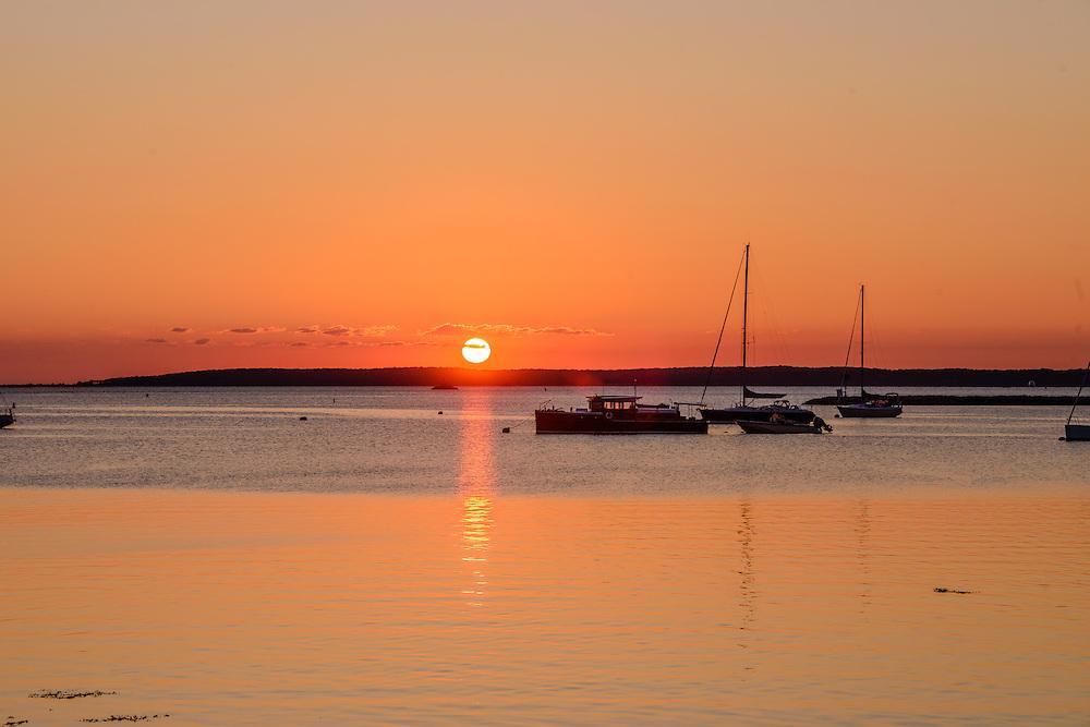 Boats, Sunrise, Sag Harbor Bay, North Haven, Sag Harbor, NY