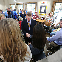 Lieutenant Governor Tate Reeves meets with voters at Papa V's during a campaign stop for his run for Govenor on Tuesday morning in Tupelo.