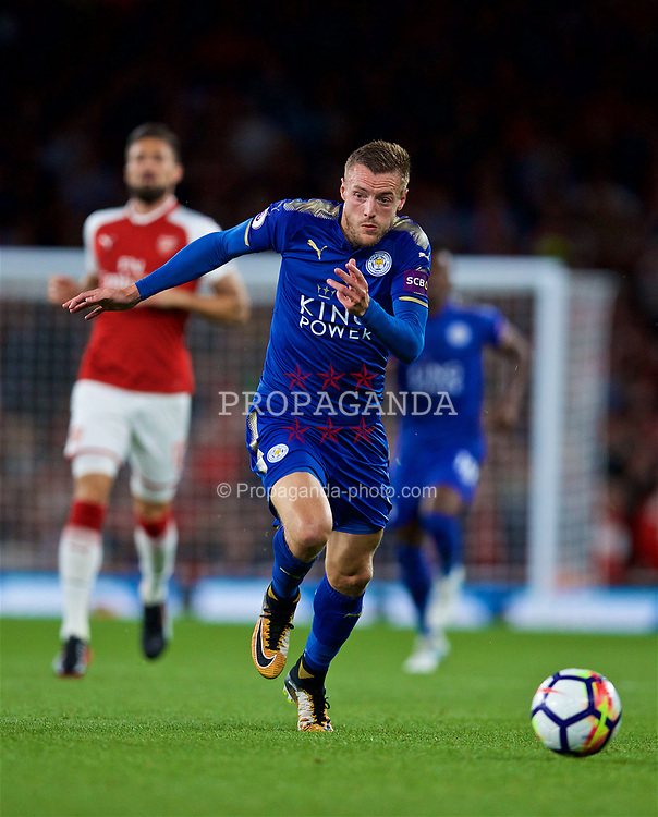 LONDON, ENGLAND - Friday, August 11, 2017: Leicester City's Jamie Vardy during the FA Premier League match between Arsenal and Leicester City at the Emirates Stadium. (Pic by David Rawcliffe/Propaganda)