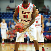 South Alabama's guard Wendell Wright (10) shoots a free throw in the first half of play in Mobile, AL. Denver leads South Alabama 30-24 at halftime on January 7, 2012...