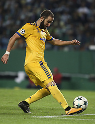October 31, 2017 - Lisbon, Portugal - Juventus's forward Gonzalo Higuain shoots the ball during the Champions League  football match between Sporting CP and Juventus FC at Jose Alvalade  Stadium in Lisbon on October 31, 2017. (Credit Image: © Carlos Costa/NurPhoto via ZUMA Press)