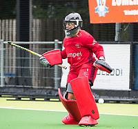 Amstelveen - keeper Kiki Gunneman tijdens de training van Pinoke Dames I, naar aanloop van de hoofdklasse hockey competitie. COPYRIGHT KOEN SUYK