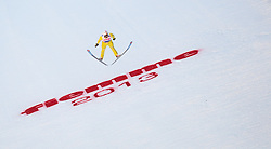 02.03.2013, Skisprungstadion, Predazzo, ITA, FIS Weltmeisterschaften Ski Nordisch, Nordische Kombination, Skisprung Großschanze Team, Wertungsdurchgang, im Bild Sebastien Lacroix (FRA) // Sebastien Lacroix of France during the Mens Nordic Combined Team Large Hill Skijump Competition of the FIS Nordic Ski World Championships 2013 at the Skijumping Stadium, Predazzo, Italy on 2013/03/02. EXPA Pictures © 2013, PhotoCredit: EXPA/ Juergen Feichter