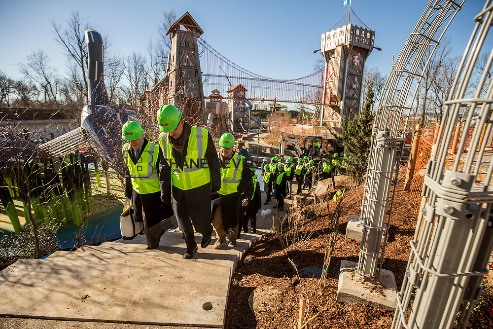 1/12/18 11:21:16 AM -- Halliburton CEO Jeff Miller and George Kaiser visit the Gathering Place for a press conference announcing Halliburton's support for the park. <br /> <br /> Photo by Shane Bevel