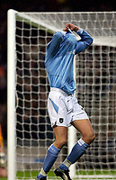 Photo. Jed Wee.<br /> Manchester City v Leeds United, FA Barclaycard Premiership, City of Manchester Stadium, Manchester. 22/12/2003.<br /> Manchester City's Antoine Sibierski celebrates his goal.