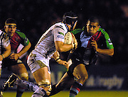 Twickenham, GREAT BRITAIN,  Quins Chris HALA'UFIA tracks Osprets Jonathan THOMAS, during the EDF. Energy Cup. between, Harlequins vs Ospreys at Twickenham Stoop.  02/12/2007 [Mandatory Credit Peter Spurrier/Intersport Images].