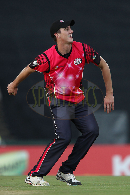 Pat Cummins of the Sydney Sixers celebrates the wicket of Titans captain Martin van Jaarsveld during the 2nd semi final of the Karbonn Smart CLT20 South Africa between The Sydney SIxers and the The Titans held at Supersport Park in Centurion, Gauteng on the 26th October 2012..Photo by Ron Gaunt/SPORTZPICS/CLT20.
