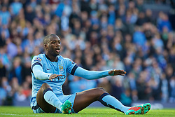 MANCHESTER, ENGLAND - Sunday, November 2, 2014: Manchester City's Yaya Toure looks dejected after being  brought down in the penalty area against Manchester United during the Premier League match at the City of Manchester Stadium. (Pic by David Rawcliffe/Propaganda)