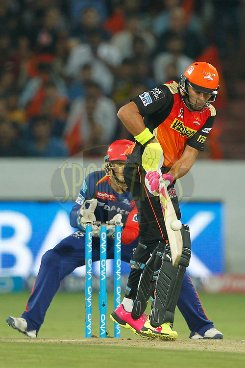 Yuvraj Singh of Sunrisers Hyderabad bats during match 42 of the Vivo IPL 2016 (Indian Premier League ) between the Sunrisers Hyderabad and the Delhi Daredevils held at the Rajiv Gandhi Intl. Cricket Stadium, Hyderabad on the 12th May 2016<br /> <br /> Photo by Deepak Malik / IPL/ SPORTZPICS