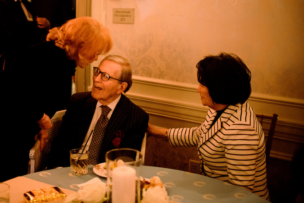 "Photo by Matt Roth.Assignment ID: 10137379A..Buffy and Bill Cafritz, middle, have a moment near the end of the inaugural ""Bi-Partisan Celebration"" they hosted along with Ann and Vernon Jordan, Vicki and Roger Sant at the Dolley Madison Ballroom at the Madison Hotel in Washington, D.C. on Monday, January 21, 2013."