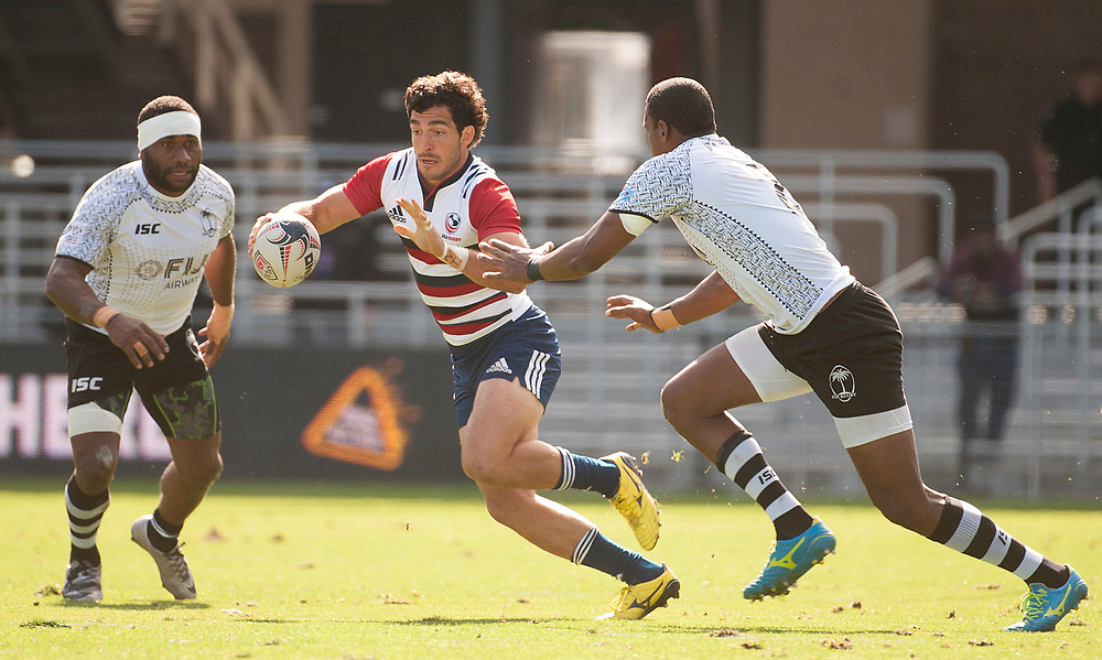 Chris Mattina of the United States on the ball as Fuji play the United States in the Cup Quarter Finals of the Silicon Valley Sevens in San Jose, California. November 4, 2017. <br /> <br /> By Jack Megaw.<br /> <br /> <br /> <br /> www.jackmegaw.com<br /> <br /> jack@jackmegaw.com<br /> @jackmegawphoto<br /> [US] +1 610.764.3094<br /> [UK] +44 07481 764811
