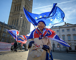 © Licensed to London News Pictures. 13/12/2018. Westminster, London, UK. Remain activist Lynne Hall, 81 holds EU and Union Jack flags outside Westminster Palace in a solitary protest a day after Teresa May survived a non confidence vote. Photo credit Guilhem Baker/LNP