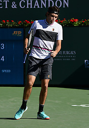March 8, 2019 - Indian Wells, CA, U.S. - INDIAN WELLS, CA - MARCH 08: Taylor Fritz (USA) reacts after hitting a shot out in the first set of a match during the BNP Paribas Open played at the Indian Wells Tennis Garden in Indian Wells, CA. (Photo by John Cordes/Icon Sportswire) (Credit Image: © John Cordes/Icon SMI via ZUMA Press)