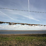 'Solway Firth, 2013' from 'A Fine Line - Exploring Scotland's Border with England' by Colin McPherson.<br /> <br /> A barbed-wire fence by the banks of the Solway Firth, with the English side of the estuary visible in the background.<br /> <br /> The project was a one-year exploration of the border between the two historic nations, as seen from the Scottish side of the frontier.<br /> <br /> Colin McPherson is a photographer and visual artist based in north west England. In 2012 he was one of the founding members of Document Scotland, a collective of four Scottish documentary photographers brought together by a common vision to witness and photograph the important and diverse stories within Scotland at one of the most important times in our nation's history.<br /> <br /> 'A Fine Line' will be shown for the first time in public at Impressions Gallery, Bradford, from July 1 until September 27, 2014 to coincide with the Scottish Independence referendum.