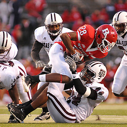 Oct 10, 2009; Piscataway, NJ, USA; Texas Southern linebacker Dejuan Fulghum (44) tackles Rutgers cornerback Quron Pratt (28) during second half NCAA college football action in Rutgers' 42-0 victory over Texas Southern at Rutgers Stadium.