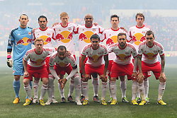 Mar 16, 2013; Harrison, NJ, USA; The New York Red Bulls pose for a team picture before their game against the D.C. United at Red Bull Arena. The match ended in a 0-0 tie.