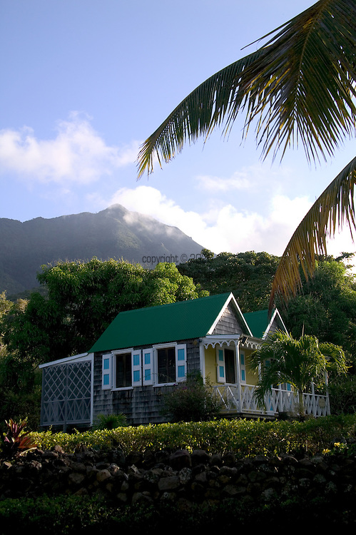 """The """"Twin Gables"""" Deluxe Cottage at The Hermitage Plantation, Nevis 4/05 Twin Gables, early morning"""