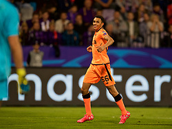 MARIBOR, SLOVENIA - Tuesday, October 17, 2017: Liverpool's Trent Alexander-Arnold celebrates scoring the seventh goal during the UEFA Champions League Group E match between NK Maribor and Liverpool at the Stadion Ljudski vrt. (Pic by David Rawcliffe/Propaganda)