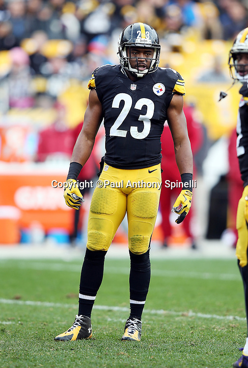 Pittsburgh Steelers free safety Mike Mitchell (23) looks on during the 2015 NFL week 6 regular season football game against the Arizona Cardinals on Sunday, Oct. 18, 2015 in Pittsburgh. The Steelers won the game 25-13. (©Paul Anthony Spinelli)