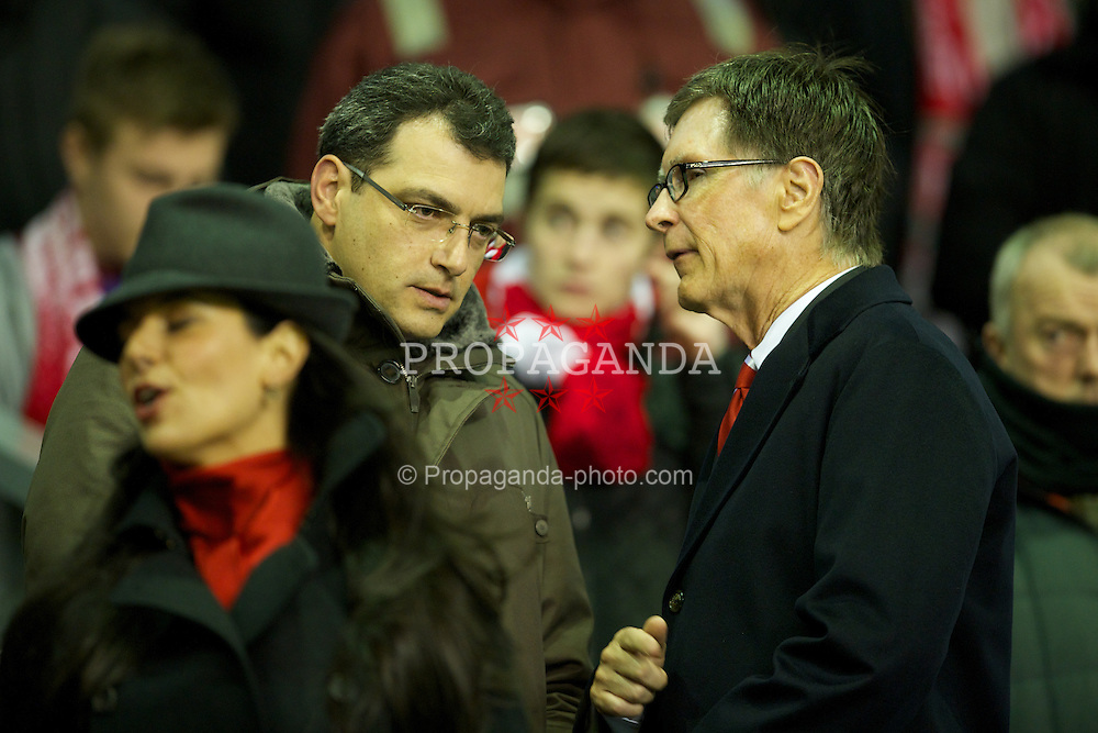 LIVERPOOL, ENGLAND - Wednesday, January 25, 2012: Liverpool's owner John W. Henry and Director of Football Strategy Damien Comolli during the Football League Cup Semi-Final 2nd Leg match against Manchester City at Anfield. (Pic by David Rawcliffe/Propaganda)